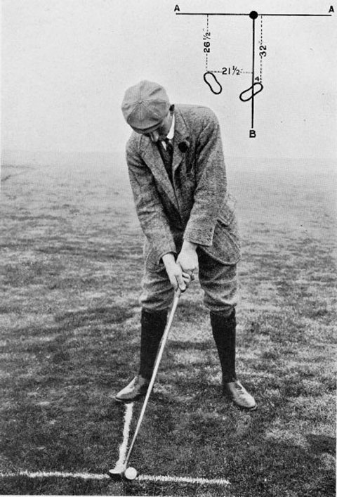 Harry Vardon playing a pulled shot