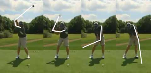 J.B. Holmes swing sequence showing bent elbow