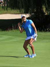 Lexi celebrates at Evian